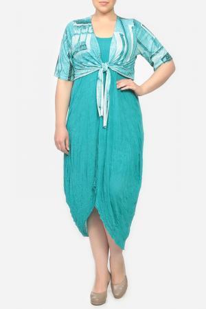 Комплект: платье, болеро STF. Цвет: бирюзовый