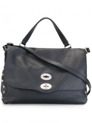 Средняя сумка-тоут Postina Zanellato. Цвет: синий
