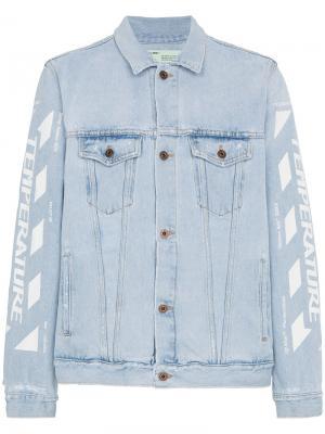 Выбеленная джинсовая куртка Off-White. Цвет: синий
