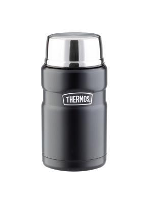 Термос из нерж. стали для еды  SK3020 BK King Stainless со складывающейся стальной ложкой 710ml. Thermos. Цвет: черный