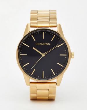 UNKNOWN Золотистые часы с ремешком из нержавеющей стали. Цвет: золотой