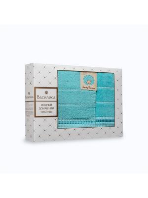 Комплект полотенец махровых гладкокрашеных с бордюром Sweety Barbara, 50х90см-1шт, 70*130см-1шт. Василиса. Цвет: бирюзовый