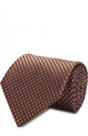 Шелковый галстук с узором Lanvin. Цвет: светло-коричневый