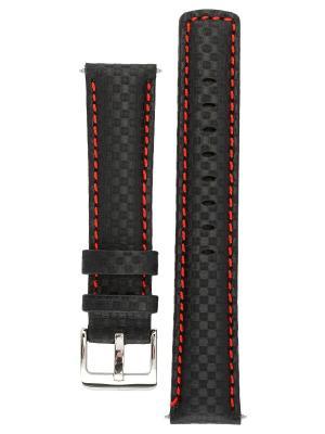 Водонепроницаемый ремешок для часов из кожи теленка с фактурой под карбон. Ширина от 18 до 24 мм. Signature. Цвет: черный, красный