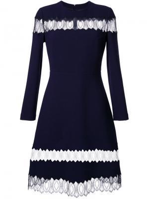 Расклешенное платье с прозрачными кружевными панелями Huishan Zhang. Цвет: синий