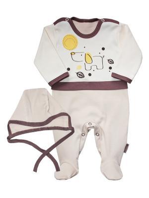 Костюм для мальчика: комбинезон, чепчик; ЭКО-хлопок Зверята Linea di sette. Цвет: бежевый