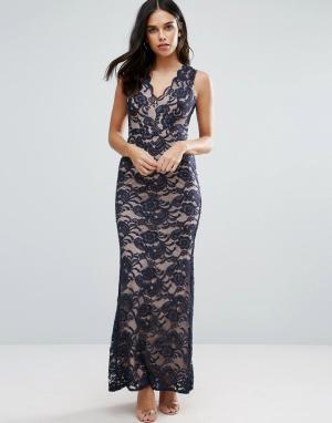 Jessica Wright Кружевное платье макси с юбкой годе. Цвет: черный
