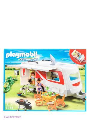 Игровой набор Семейный автоприцеп Playmobil. Цвет: синий, красный, белый