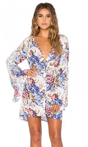 Платье-рубашка с рукавами колокол AUGUSTE. Цвет: синий