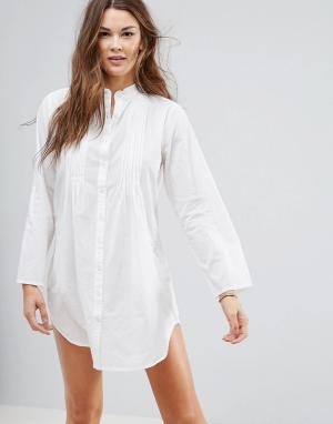 Pia Rossini Белая хлопковая туника с рубашечным дизайном. Цвет: белый