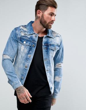 Good For Nothing Синяя джинсовая куртка с рваной отделкой. Цвет: синий