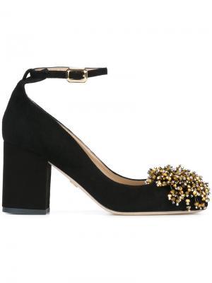 Декорированные туфли с ремешком на щиколотке Elie Saab. Цвет: чёрный