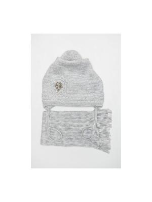 Шапка, шарф Tricotier. Цвет: светло-серый
