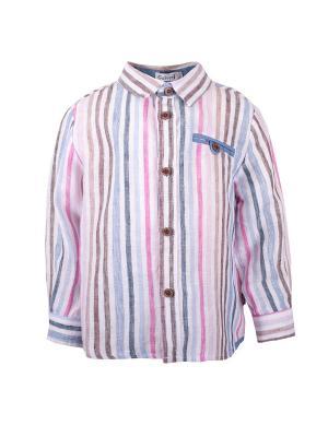 Рубашка Gulliver Baby. Цвет: голубой, белый, бледно-розовый