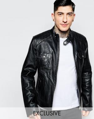 Black Dust Кожаная байкерская куртка с карманами. Цвет: черный