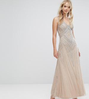 Amelia Rose Декорированное платье макси. Цвет: коричневый