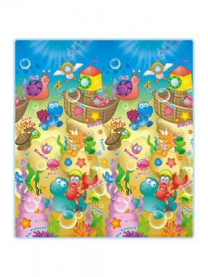Детский развивающий коврик  Морские жители односторонний 200х180х0,5см Mambobaby. Цвет: голубой
