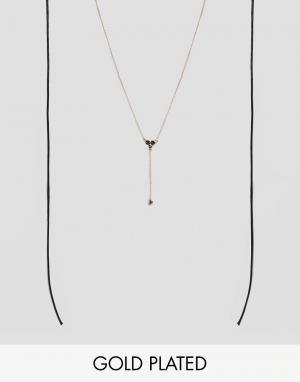 Johnny Loves Rosie Черное ожерелье в несколько рядов Alana. Цвет: золотой