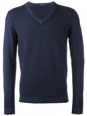 Пуловер с V-образным вырезом Zanone. Цвет: синий