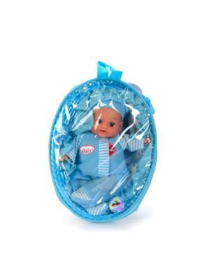 Пупс Карапуз 23 см, в корзинке сумке, озвученный, говорит 7 фраз.. Цвет: голубой,белый