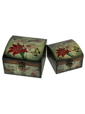 Набор сундучков из 2-х штук Русские подарки. Цвет: коричневый, серо-зеленый