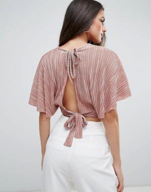 Love Плиссированный топ в стиле кимоно. Цвет: розовый