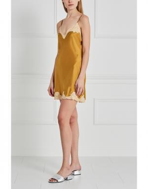 Шелковая сорочка Mathilide Sabbia Rosa. Цвет: желтый