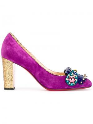Декорированные туфли-лодочки Christian Louboutin. Цвет: розовый и фиолетовый