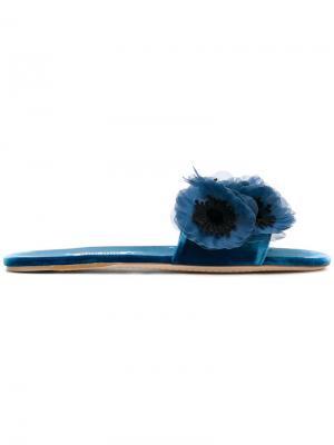 Шлепанцы с цветчоной аппликацией Miu. Цвет: синий