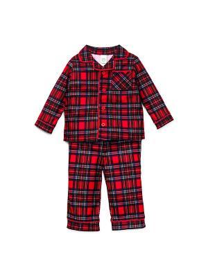 Пижама для мальчика Шотландка Little Me. Цвет: красный