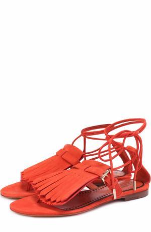Замшевые сандалии с бахромой Santoni. Цвет: красный