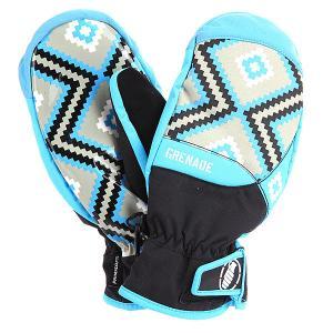 Варежки сноубордические женские  Navajo Mitt Blue Grenade. Цвет: черный,голубой