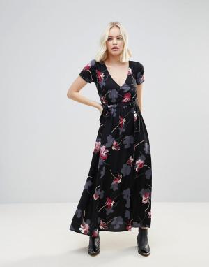 Rock & Religion Платье макси с цветочным принтом и запахом. Цвет: черный