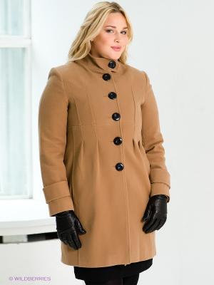 Пальто Gemko plus size. Цвет: светло-коричневый