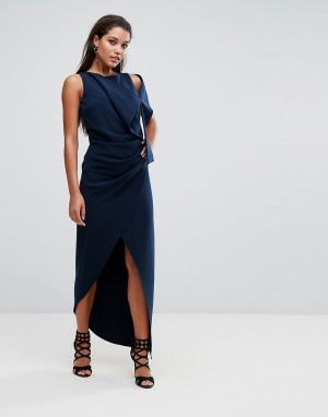 AQ Платье макси с отделкой на плечах AQ/AQ. Цвет: темно-синий