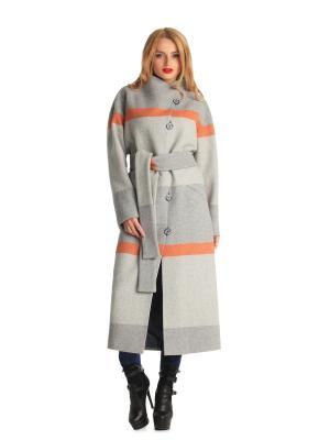 Пальто Artwizard. Цвет: серый, белый, оранжевый