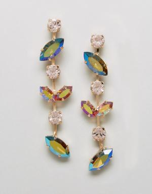 Krystal Серьги-подвески с кристаллами Swarovski от London. Цвет: серебряный