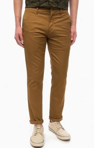 Хлопковые брюки на молнии Carhartt WIP. Цвет: коричневый