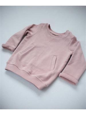 Свитшот теплый с карманами пудровый TRENDYCO Kids. Цвет: бледно-розовый