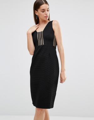 Rare Платье миди со вставками в полоску. Цвет: черный