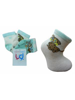 Носки детские, 3 пары PERA MAYA. Цвет: бирюзовый, кремовый