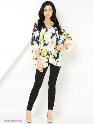 Блуза с бахромой и цветами синяя MONOROOM. Цвет: синий