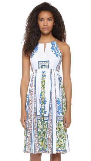 Миди-платье с американской проймой plenty by TRACY REESE. Цвет: ксилографический цветочный рисунок