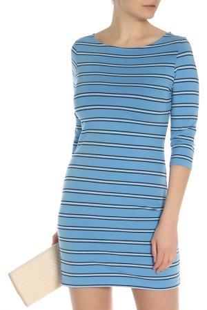 Летнее платье в полоску oodji. Цвет: голубой, темно-синий,полоски