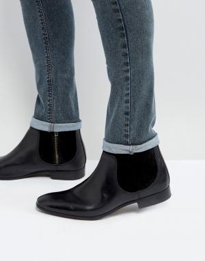 ASOS Черные ботинки челси из кожи и замши. Цвет: черный
