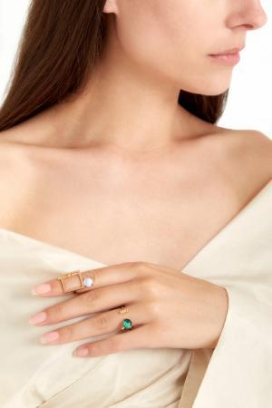 Позолоченное кольцо с малахитом и цитринами Moonka Studio. Цвет: зеленый