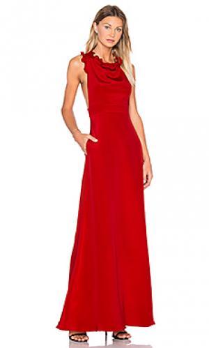 Вечернее платье с рюшами без рукавов JILL STUART. Цвет: красный