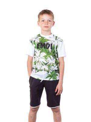 Футболка EMDI. Цвет: белый, зеленый