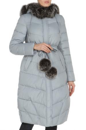 Полуприлегающая куртка с капюшоном Clasna. Цвет: голубой