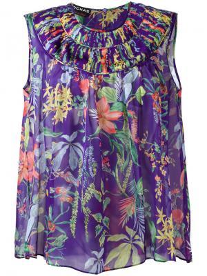 Шелковая блузка с принтом Rochas. Цвет: розовый и фиолетовый